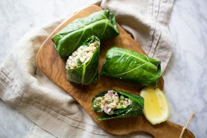 vegan mock tuna salad collard wraps
