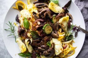 Spiraled Zucchini basil and mushrooms