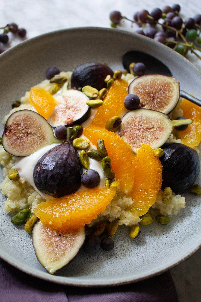 Millet Porridge with Figs and grapes for Fall