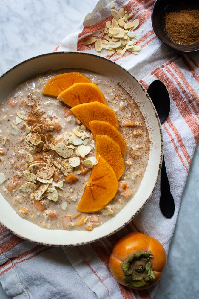 overnight oats with persimmon ginger cinnamon