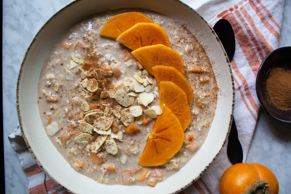 overnight oats with persimmon ginger cinnamon and almonds