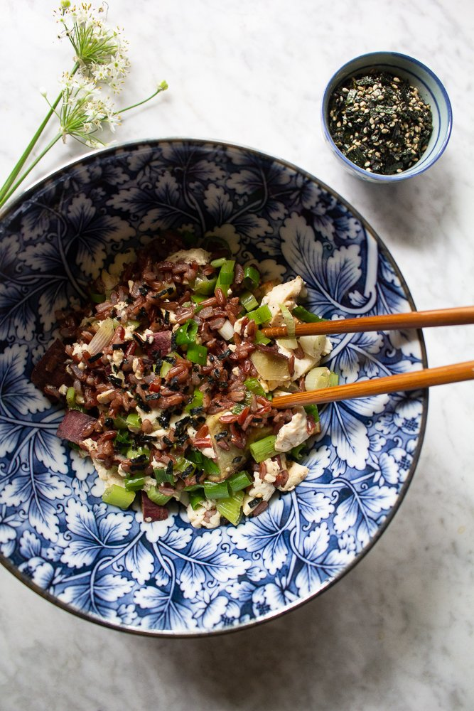 silken tofu with red rice and scallions