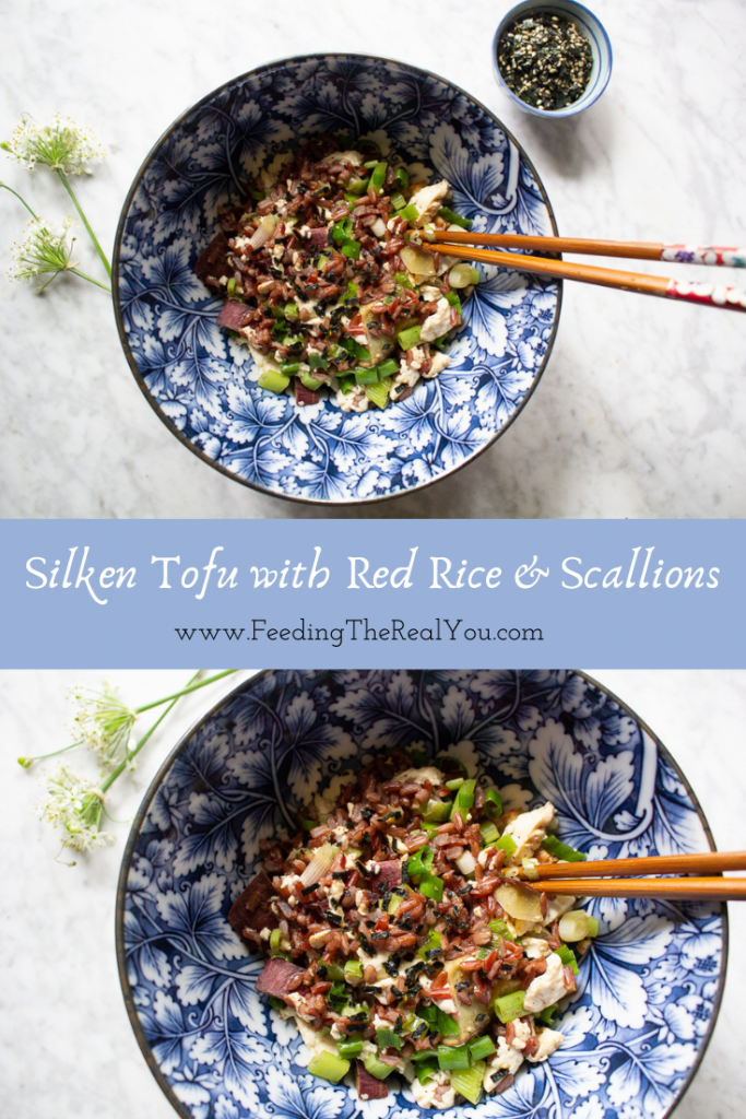 Silken Tofu With Red Rice & Scallions