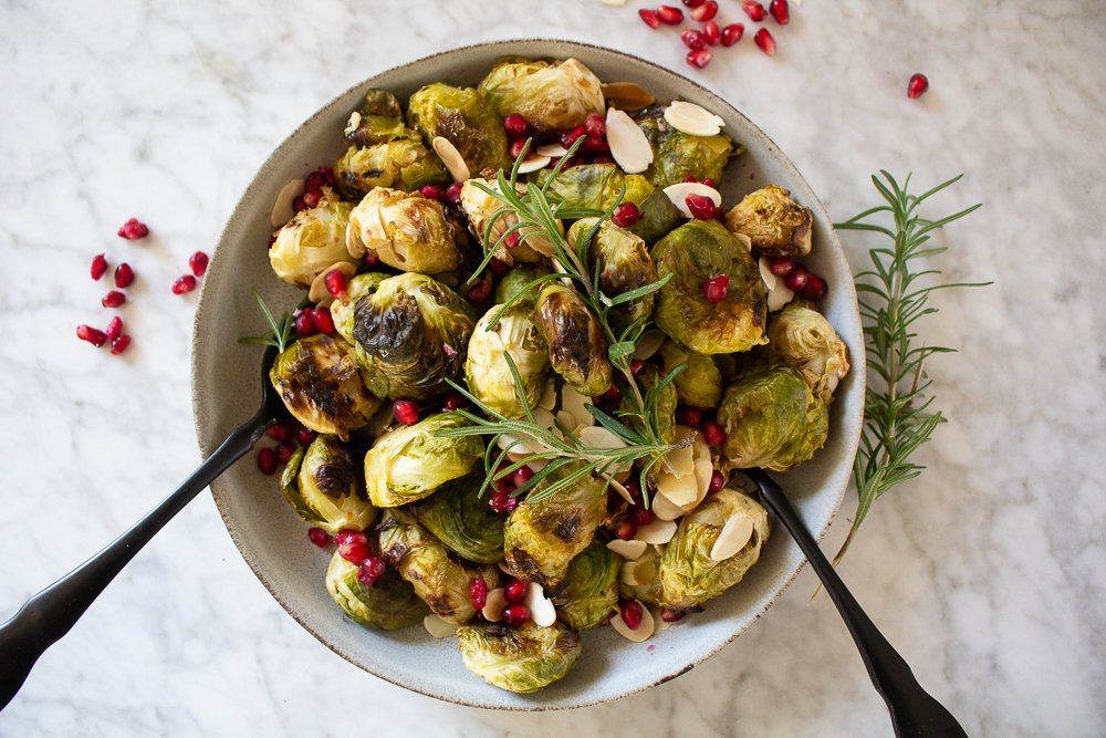 smashed Brussels sprouts with pomegranate seeds